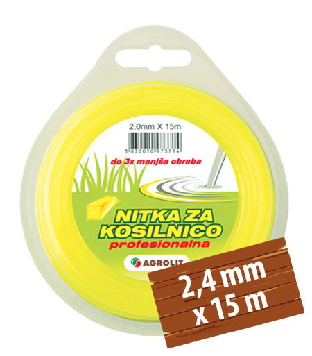 NITKA ZA KOSILNICE 2,4 MM X 15 M (PRO)- OKROGLA - AGROLIT