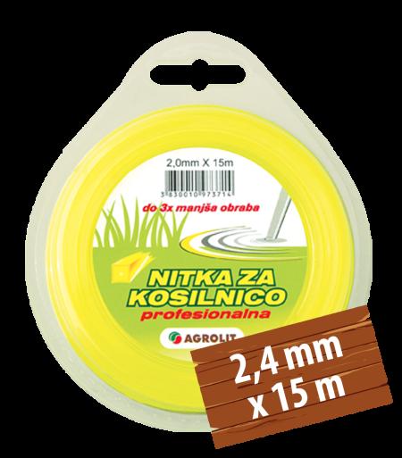 NITKA ZA KOSILNICE 2,4 MM X 15 M (PRO)- KVADRAT - AGROLIT