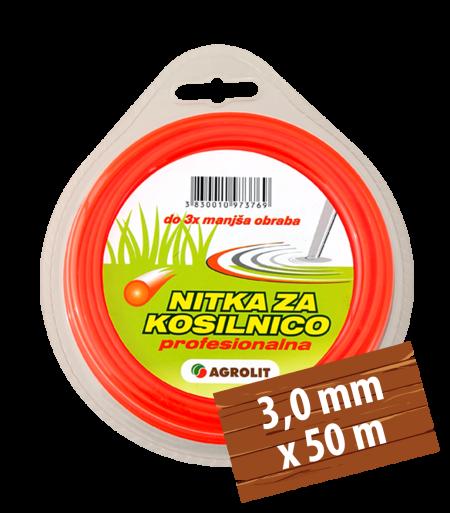 NITKA ZA KOSILNICE 3,0 MM X 50 M(PRO)- KVADRAT - AGROLIT