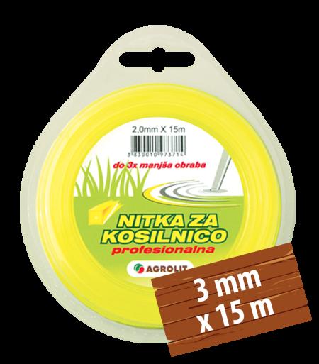NITKA ZA KOSILNICE 3 MM X 15 M (PRO)- KVADRAT - AGROLIT
